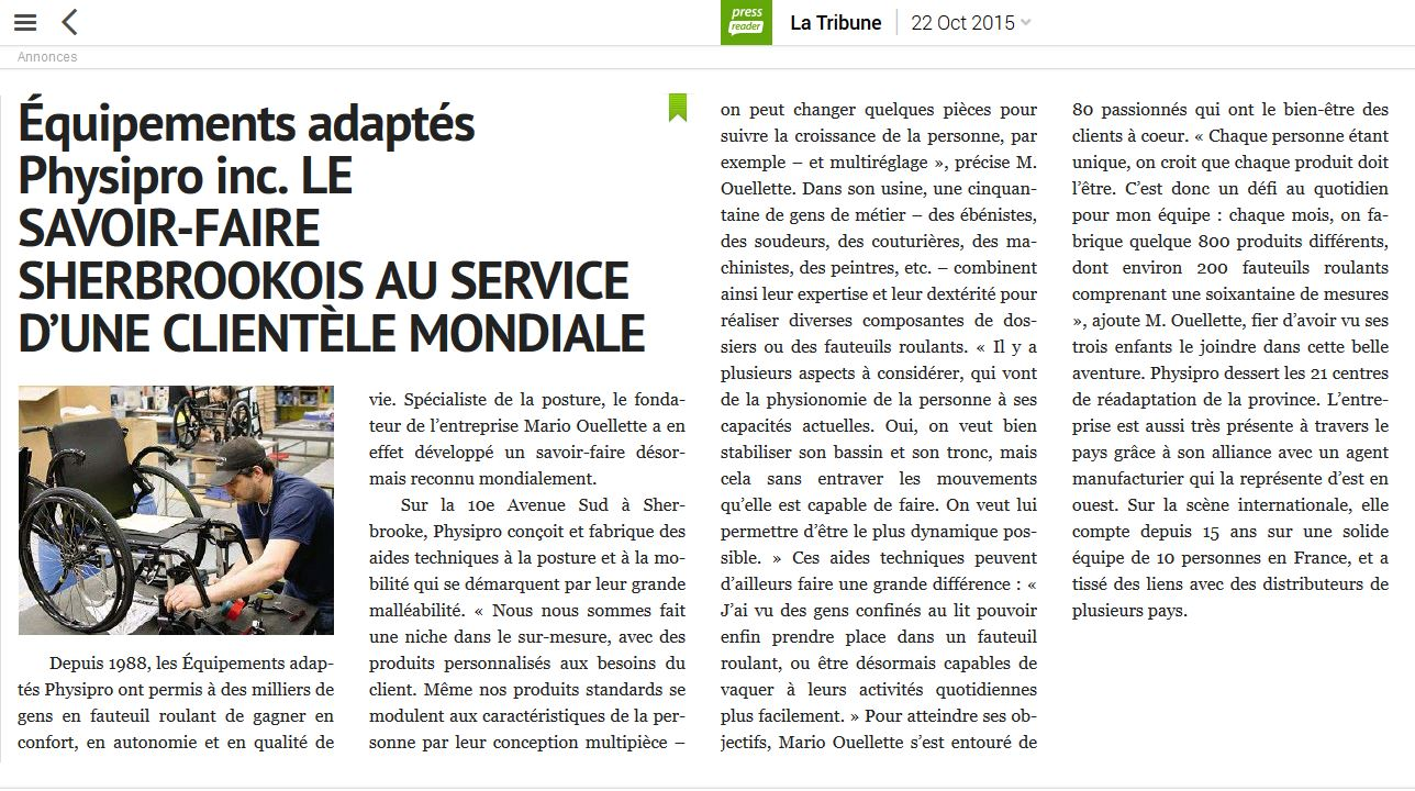 Article à lire dans le journal La Tribune : « Le savoir ...